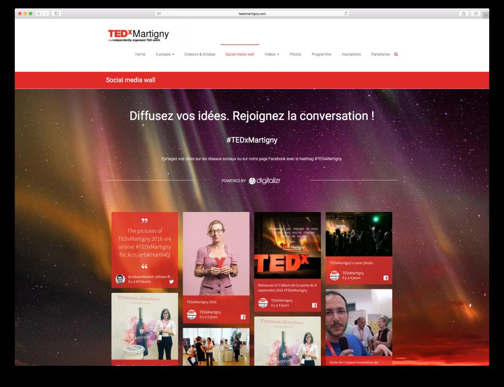 TEDxMartigny a utilisé un aggrégateur de réseaux sociaux pour diffuser ses contenus en ligne
