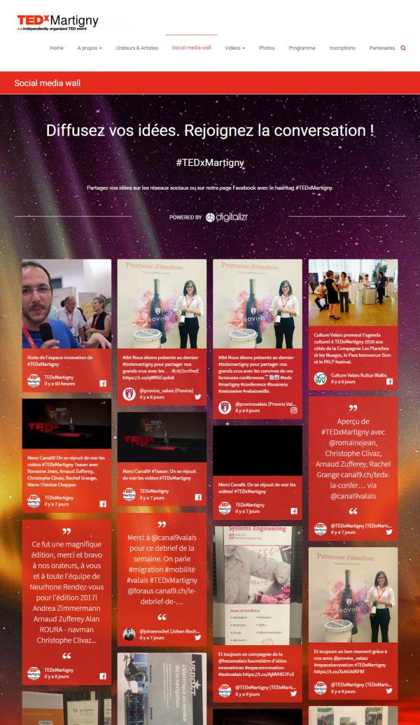 TEDxMartigny : Social media wall